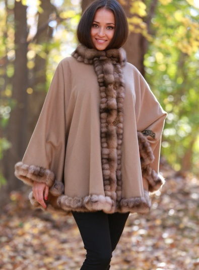 Cashmere Cape With Sable