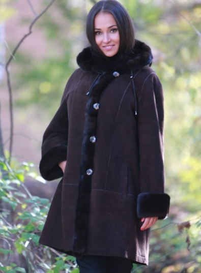 Classic Shearling Swing Coat With Hood | Steven Corn Furs
