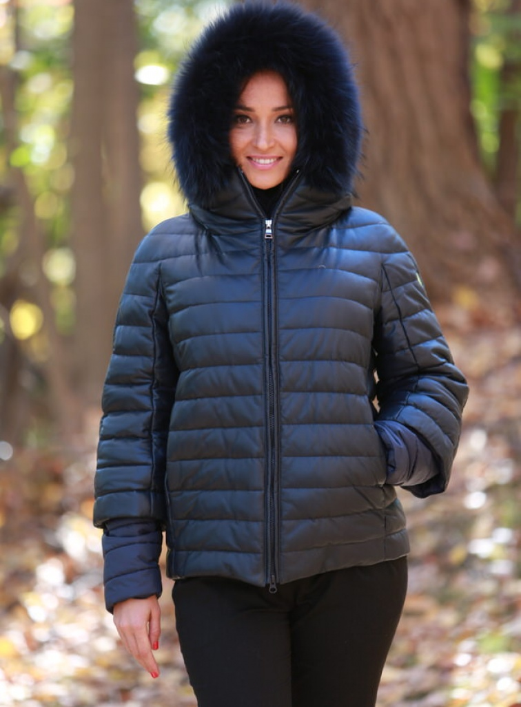 Hooded Leather & Fur Puffer Jacket