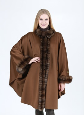 Loro Piana Cashmere Cape With Russian Sable