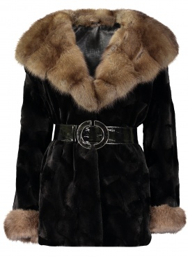 Sheared Mink Jacket with Sable Trim