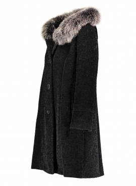 Alpaca Coat with Fox Trim