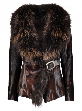 Leather Jacket with Raccoon Trim