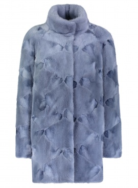 Sky Blue Sculpted Mink Jacket