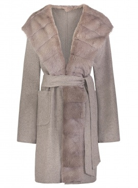 Virgin Wool Mink Trimmed Wrap
