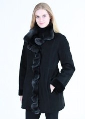 Luxury Merino Shearling Jacket With Cascade Ruffle Front