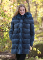 Denim Blue Cross Mink Parka