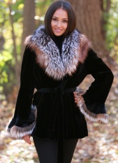 Sheared Mink Belted Wrap With Fox
