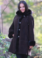 Classic Shearling Swing Coat With Hood