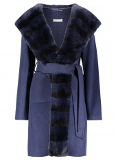 VIRGIN WOOL REX TRIMMED BELTED WRAP