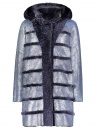 Navy Shearling Hooded Coat
