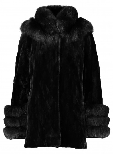 Diamond Section Sheared Mink Jacket with Fox