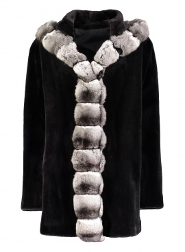 Reversible Sheared Mink with Chinchilla Trim