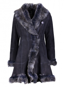 Dramatic Navy Shearling Jacket